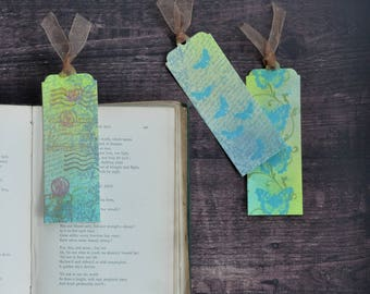 Artist Bookmark Set 1, Set of Three Collectible Handmade Bookmarks FREE UK SHIPPING Book Lover Gift stocking stuffer