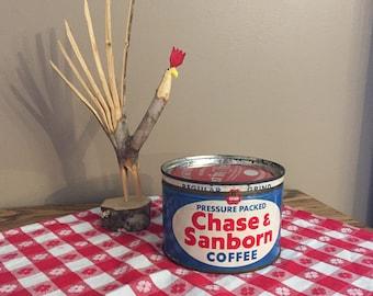 Coffee Can Tin, Chase & Sanborn Blue White, Succulent Herb Planter, Vintage Rustic Farmhouse Kitchen