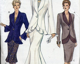 2-piece Misses suit, jacket & flared or straight skirt, Vogue patterns 8850, Misses sizes 14, 16, 18