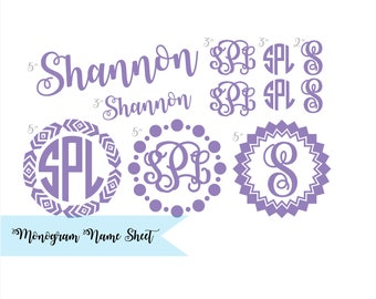 Set of 11 MONOGRAM and Name DECALS Sheet Interlocking Vine Monogram Heart Frame Monogram Wedding Decals