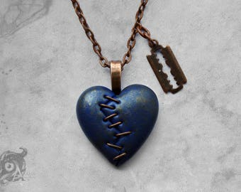 Gothic stapled heart & razor blade 'This Love' necklace // Dark blue polymer clay loveheart + copper chain // Macabre Horror Punk jewellery
