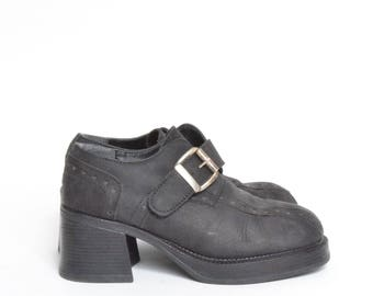 Vintage 90's  Chunky Heel Black Leather Platform Buckle Ankle Boots
