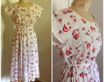 1980s Vintage Sailboat Midi Dress // 14 16 XL XXL nautical sailor red white blue eighties does fifties