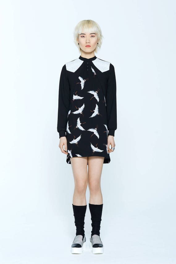 BELLINI - long sleeves straight dress for womens - black with herons print