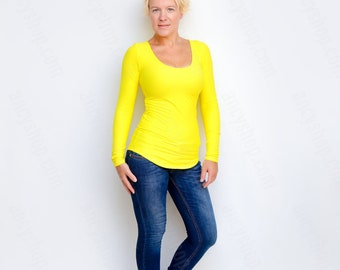 Yellow Top, Basic Tee, Blouse Small, Bodycon Shirt, Casual Wear, Scoop Neck Tee, Fall Shirts, Long Sleeve Top, Bright Colors, Slim Fit Top
