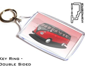 VW Microbus Samba Personalised 6x4cm Double Sided Key Ring. Choose Colour, Decals, Wheel Colours, Background. Volkswagen Bus Type 2 T1