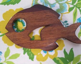 Vintage Mid-Century Wooden Fish Trivet - Rustic Trivet - Wood Fish