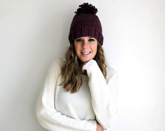 Knit Hat, Pom Pom Hat, Knitted Hat Chunky Fig- Pokomoke Hat