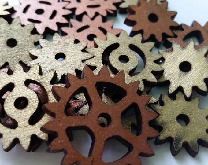 10 Wooden Gears of Various Sizes