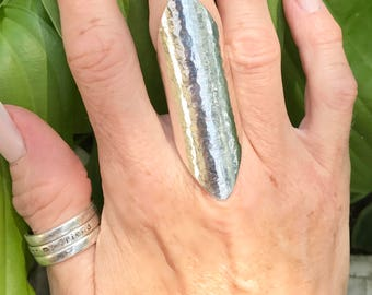 "Extra Wide Band Sterling Silver ""Edgy"" Ring, Hammered"