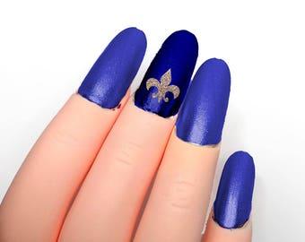 Fleur De Lis Nail Stickers, DIY nail Vinyls, saints, mardi gras nails