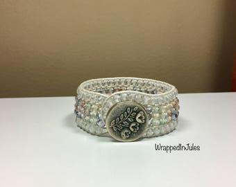 Into Pastels White Leather Beaded Bracelet, cuff bracelet, pastel jewelry, leather jewelry, pastel colors, beaded bracelet