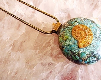 Powerful Orgone Pendant - Turquoise/Clear Quartz/Ammonite - FREE WORLDWIDE SHIPPING!