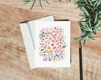 Daisy Watercolor Floral Card - single folded greeting card