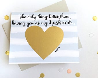 Pregnancy Scratch Off Card - Pregnancy Announcement to Husband - New Daddy - only thing better than having you as a husband - THE ONLY THING