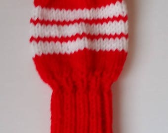 GOLF CLUB HEAD-Cover, Retro Hand Knit with Pom Pom Custom Colors, pom poms for No. 3 woods, fairway golf clubs