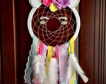 Unicorn dream catcher. Rainbow and gold unicorn. Handmade dream catcher. Soft colors. Nursery decor. Girls room decor.