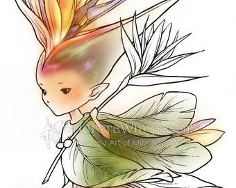 Digital Stamp - Bird of Paradise Sprite - Whimsical Strelitzia Fae - digistamp - Fantasy Line Art for Cards & Crafts by Mitzi Sato-Wiuff