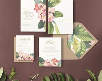 Tropical Floral Wedding Invitation | PLUMERIA | Frangipani Flowers |  Destination Wedding Invitations | Hawaii Invitations