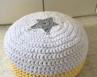 Crochet Footstool Pouf-Star Floor Pouf-Nursery Pouf Ottoman-Kids Furniture-Nursery Decor-Tee Pee Cushions-Baby Shower Gift-Knit Ottoman Pouf