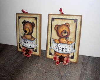 Primitive Teddy Bear His And Hers Bathroom Wood Signs, Bathroom Décor,  Primitive/Country