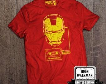 Medium: Ladies T Shirt Iron Man Walkman Red Size