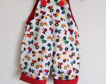 The Fun Farmyard Shortie Tractor Dungaree/Romper/Overall -- Baby Toddler Sizes 0-2yrs
