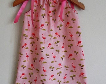Pink Flamingos with palm tree girls dress with Ribbon Shoulder Ties - sizes 0-6yrs baby toddler girls - Made to order