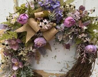 Fall Wreath, Front Door Wreath, Autumn Wreath, Purple Wreath, Fall Door Wreath