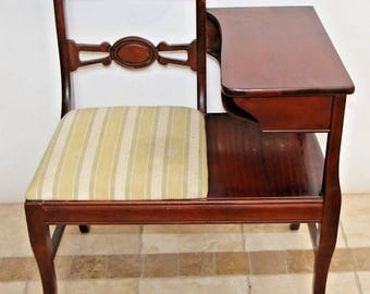 Vintage Chippendale Telephone Gossip Chair solid Mahogany with desk shelf Safe nationwide shipping available please see description