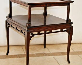 Antique Chinese Chippendale Side End Table Fretwork Apron Mahogany by Ferguson Nationwide shipping available please call for rates