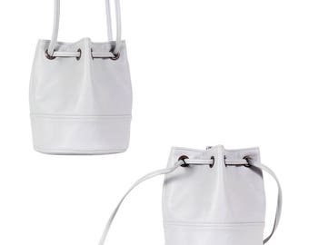 Saq bag light grey bucket bag crossbody shoulder pouch sac purse drawstring vegan faux leather two pockets with zipper simple everyday city