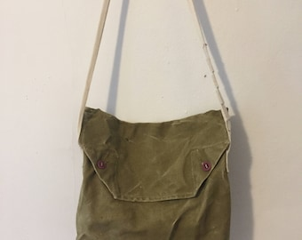 Vintage Army Green Canvas Tent Bag