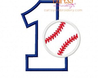 Baseball Applique Design, Birthday Embroidery Design, Baseball Birthday, First Birthday