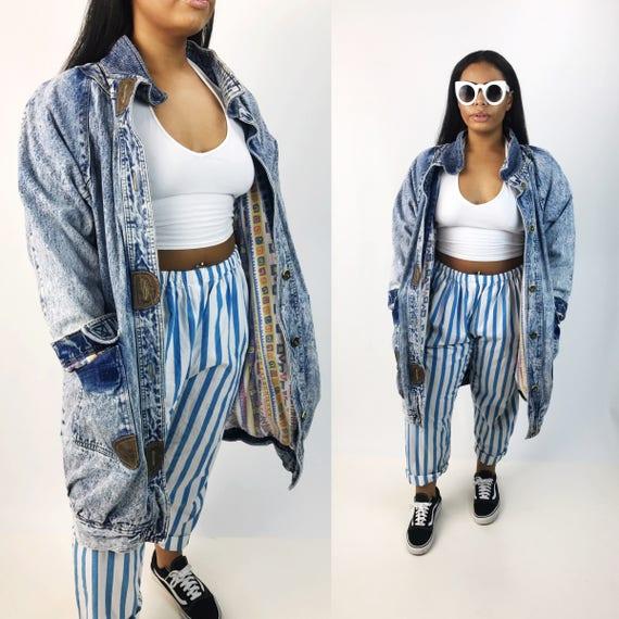80's Long Baggy Denim Coat Acid Wash Slouchy Baggy Lined Jean Coat Medium Adult Unisex - Vtg Soft Long Oversized Denim Jacket Streetwear