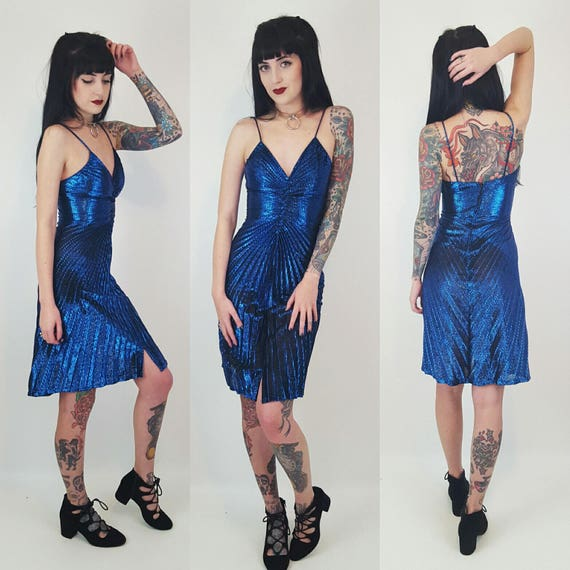 90's Blue Sparkle Mini Dress Extra Small - Shiny Pinup Glitter Evening Gown XS - Women's Retro Vintage 70s Classy Formal Cocktail Dress