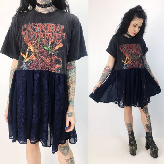 90's Cannibal Corpse Dress Upcycled Band Tee Shirt - Remade Rare Band Lunar Eclipse Dress - Metal Goth Mini Dress - Cannibal Corpse Band Tee