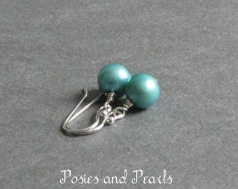 """Turquoise Blue Pearl Earrings, 7.5 mm Freshwater Pearl Drop, Sterling Silver or Gold Plated, Wedding Jewlery, """"Classic No. 4"""""""