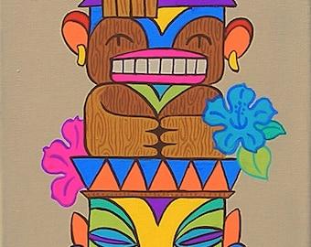 Mid Century Modern Eames Retro Original Painting Tiki God Totem