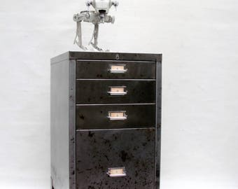 Vintage Filing Cabinet Industrial Metal Drawers.