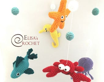 Crochet Under the Sea Nursery Mobile / Crib Mobile / Nursery Decor / Toys Accessories / Crib Toy / Fish, Starfish, Crab, Seahorse, Octopus