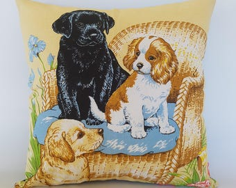 Pillow cover Dogs and puppies Vintage tea towel cushion decor