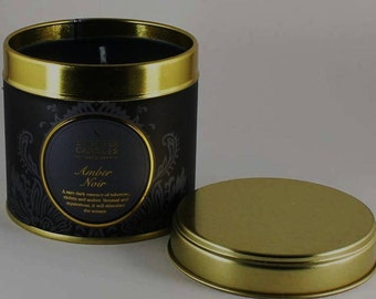 Noir fragranced candle ~ hand poured~ with own travel tin ~ burns 20 hours