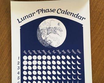 Dark Blue 2018 Lunar Phase Calendar in Midnight Blue
