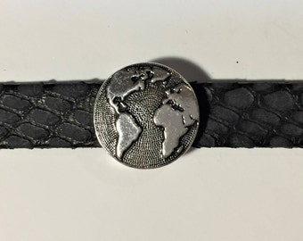 Silver 10mm World Slider for Flat leather bracelets, Antique Silver, TierraCast Button Slider, finding, jewelry making supplies