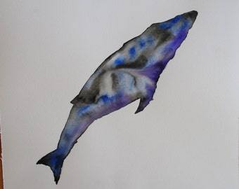 Whale watercolor painting, Original watercolor