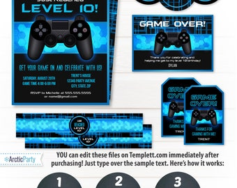 Video Game Party Invitations - Video Game Invitations - Video Game Party Supplies - Video Game PartyFavors - INSTANT ACCESS - Edit NOW!