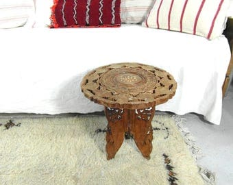 Vintage Indian Table, Carved Wood, Mother Of Pearl Inlay, Folding Base,  Coffee