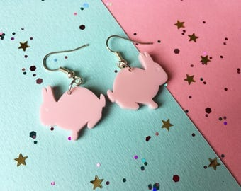 Rabbit Earrings - Rabbit Jewellery - Bunny Earrings - Acrylic Earrings - Laser Cut Rabbit - Silver Earrings - Animal Earrings - Earrings