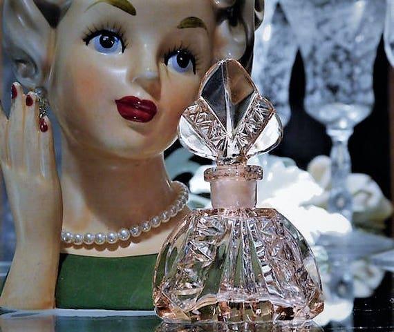 Miniature Irice Czech Perfume Bottle Art Deco 1920s 1930s Cut Pink Rosaline Crystal Czechoslovakia Antique Vintage Vanity Cologne Bohemian
